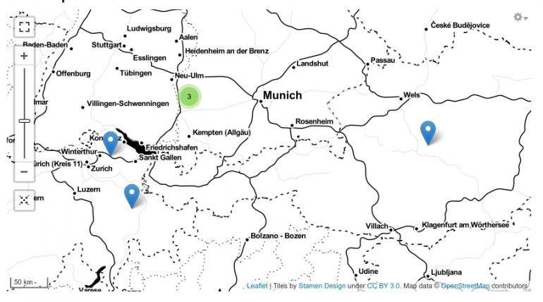 Screenshot einer Karte mit Leaflet-Stamen-Toner-Kacheln